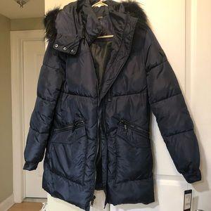 Rachel Roy Navy Faux Fur Trim Puffer Coat Sz SM